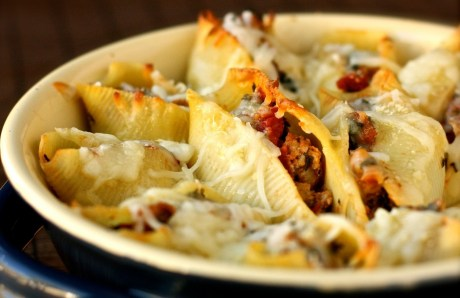 Baked Sausage & Spinach Pasta Shells