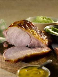 Glazed Loin of Bacon with Pea and Potato Mash; Bord Bia recipe