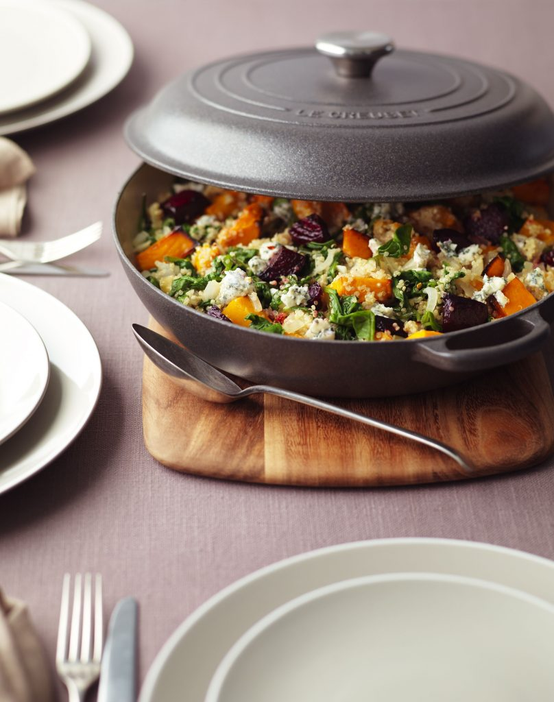 Roasted Beetroot & Squash Quinoa Risotto with Spinach & Creamy Blue Cheese