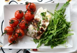 Pollack with tomatoes and rocket; fish recipe; quick and easy fish recipe