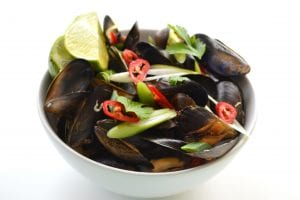 Thai style mussels; shellfish recipe; mussels recipe