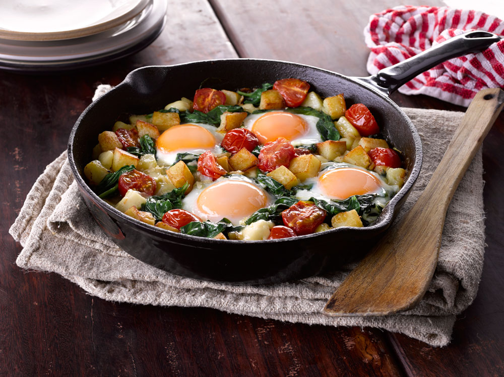 Sautéed Potatoes with Spinach & Eggs
