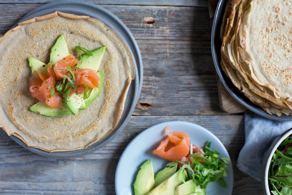 Buckwheat Crêpes with Smoked Salmon and Avocado