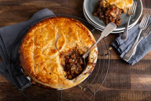 Dubliner Cheese and Mushroom Pie, beef pie recipe, cheddar and mushroom recipe, I Love Cooking, pie