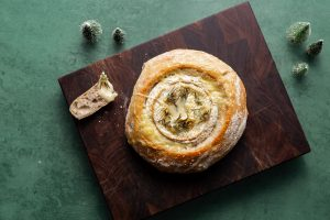Sourdough baked brie with rosemary and garlic, Patrick Ryan, sourdough recipe, festive sourdough, i love cooking sourdough